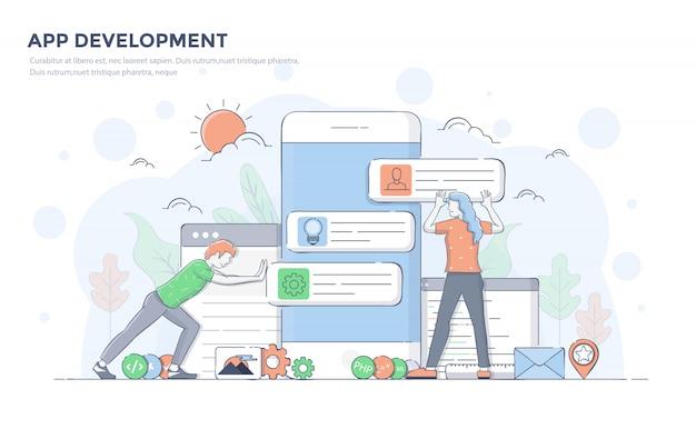 Flat line modern concept illustration - app development