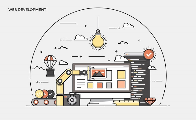 Flat line modern concept illustration