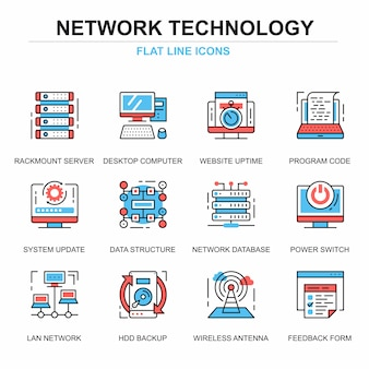 Flat line network technology icons concepts set