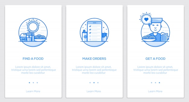 Flat line onboarding concepts