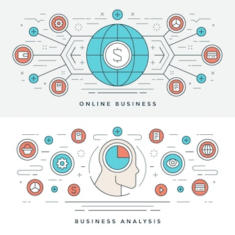 Flat line online business analysis concept illustration.