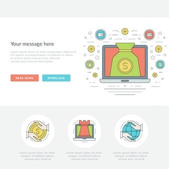 Flat line online business concept vector illustration.