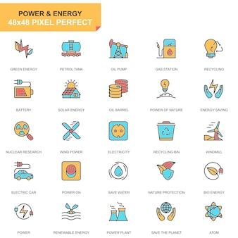 Flat line power industry and energy icons set