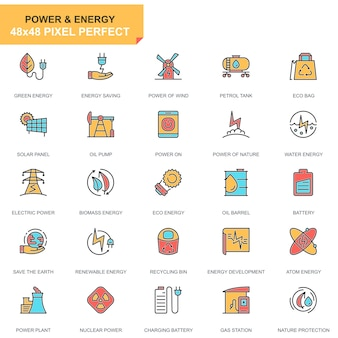 Flat line power industry icons set