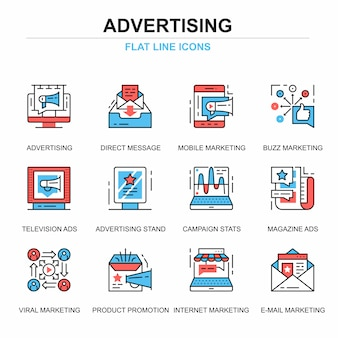 Flat line promo and advertising icons concepts set
