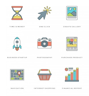 Flat line simple icons set. stroke vector essentials objects