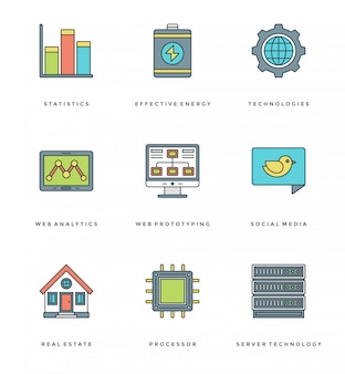 Flat line simple icons set. thin linear stroke essentials objects symbols