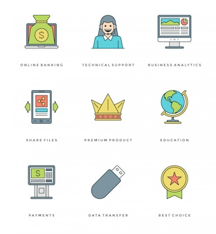 Flat line simple icons set. thin linear stroke icons essentials objects concept.