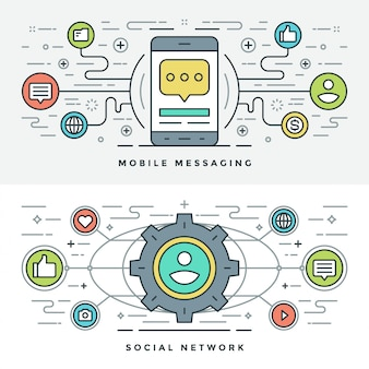 Плоская линия социальных медиа и мобильных сообщений. векторная иллюстрация