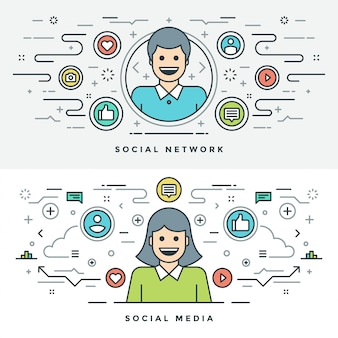 Плоская линия социальных медиа и концепция сети иллюстрации