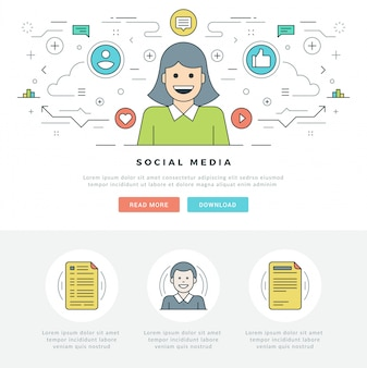 Flat line social media concept and line style icons design.