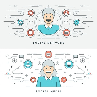 Flat line social media and network concept illustration.