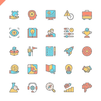 Flat line startup project and development elements icons set