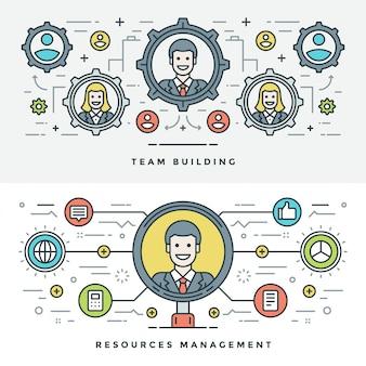 Flat line team building and management. vector illustration