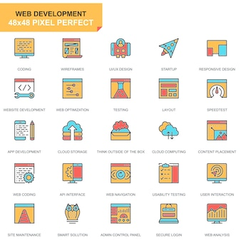 Flat line web design and development icons set