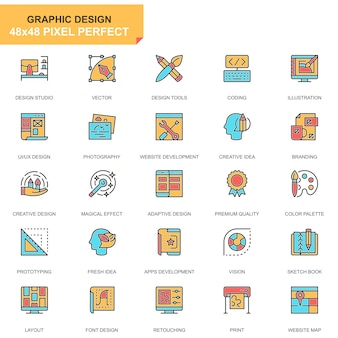 Flat line web and graphic design icons set