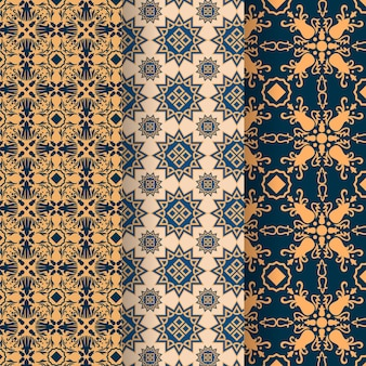Flat linear arabic pattern collection