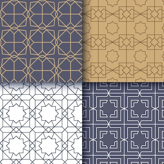 Flat linear arabic pattern set
