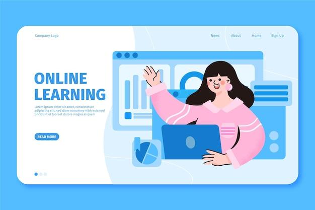 Плоский линейный шаблон целевой страницы онлайн-обучения