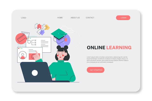 평면 선형 온라인 학습 방문 페이지 템플릿