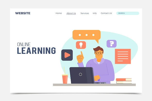 Flat linear online learning landing page template