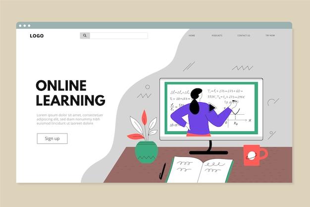 Плоский линейный веб-шаблон онлайн-обучения