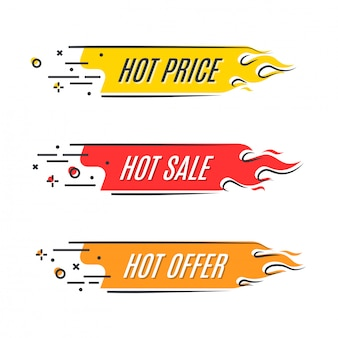 Flat linear promotion fire banner, price tag, hot sale, offer
