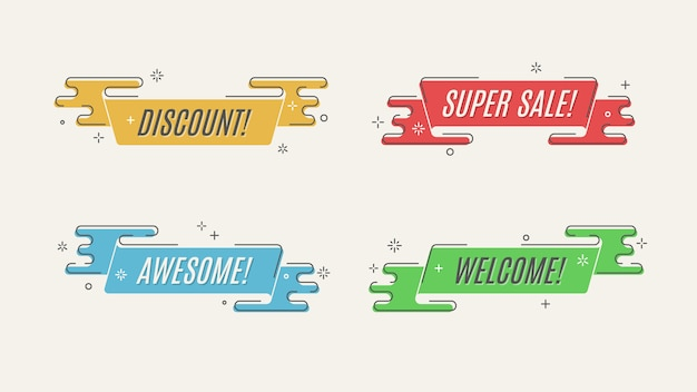 Flat linear promotion ribbon banner, scroll, price tag, sticker, badge, poster