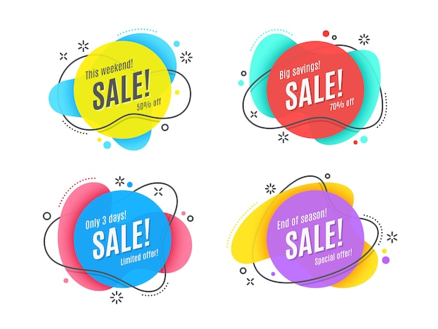 Flat linear promotion ribbon banner, scroll, price tag
