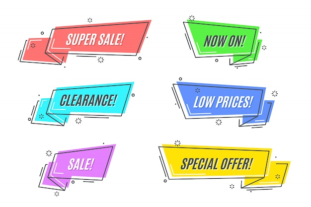 Flat linear promotion ribbon banner set
