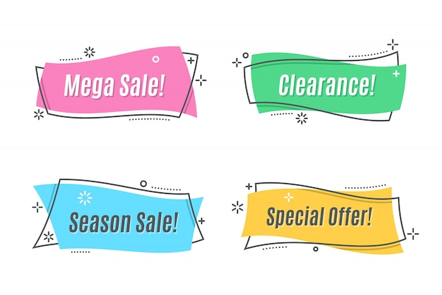 Flat linear promotion ribbon banner