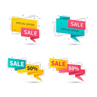 Flat linear promotion ribbon banners