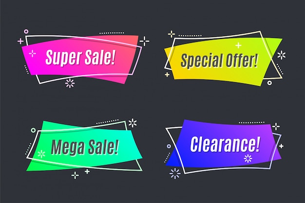 Flat linear promotion vivid banner, scroll, price tag, sticker, badge, poster.