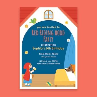 평면 작은 빨간 승마 후드 생일 초대장