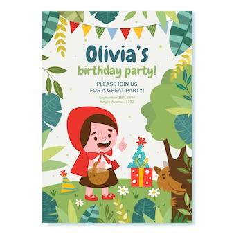 平らな小さな赤い乗馬フードの誕生日の招待状