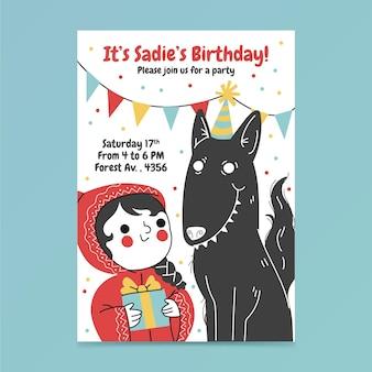 Flat little red riding hood birthday invitation