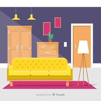 Flat living room background