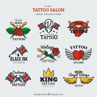 Flat logo collection for a tattoo salon