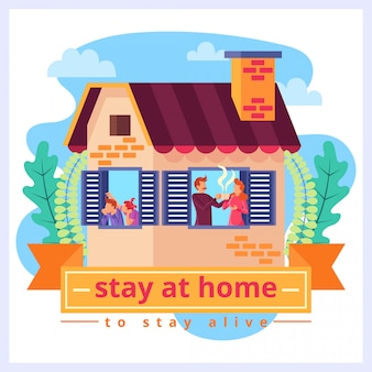 Flat logo illustration of family staying at home for staying alive from coronavirus