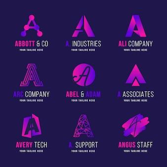 Flat a logo templates collection