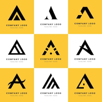 Flat a logo templates collection