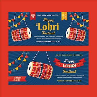 Flat lohri banners template with bonfire