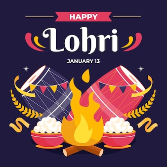 Flat lohri festival illustration