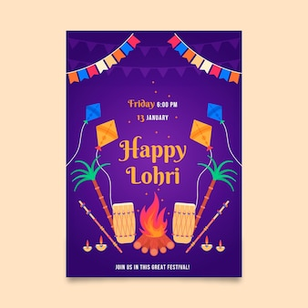 Flat lohri poster with bonfire