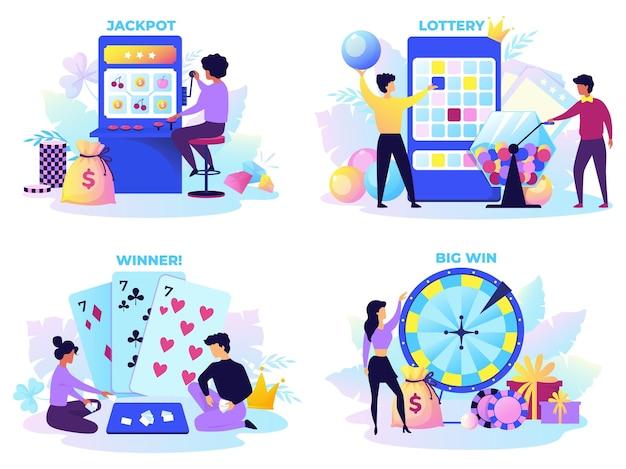 フラット宝くじ。幸せなキャラクター、ロットスピナー、フォーチュンホイールマシンと漫画のビンゴゲームシーン