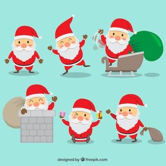 액세서리와 함께 평면 사랑스러운 산타 클로스