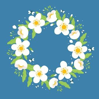 평면 사랑스러운 봄 꽃 프레임