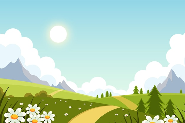 Flat lovely spring landscape background