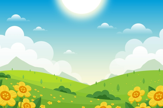 Flat lovely spring landscape wallpaper