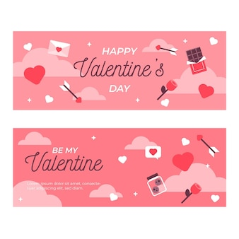 Flat lovely valentine's day banners pack
